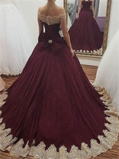 Burgundy Evening Quinceanera Gown Gold Appliques With Bowknot Back