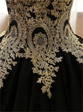 Gold Pineapple Flower Pattern Applique Puffy Tulle Black Court Ball Gown Lady Wear