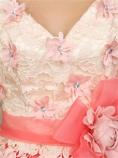 Graceful Champagne With Watermelon Organza A-line Prom Dresses Puffy