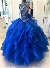 High Neck Modest Royal Blue Layers Ruffles Fotos De Quinceanera