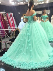 Apple Mint Ruching Puffy Tulle Rugosa Rose Skirt 2019 Quince Dress For Girl