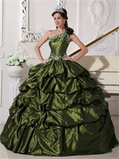 Olive Green One Shoulder Taffeta Pick-ups Skirt Quinceanera Dress Vintage