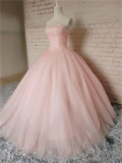 Fully Beading Bodice Blush Ball Gown For Girl's 15th Birthday