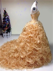 Curly Ruffles Skirt Fair Quinceanera Ball Gown By Shiny Gold Organza
