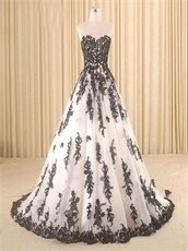 Classical White With Black Details Collocation Puffy Military Ball Gown