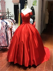 Off Shoulder Red Satin Pocket Ball Gown For Sweet 16 Birthday Gift