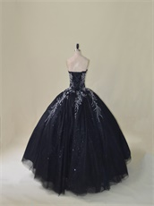 Silver Embroidery Black Puffy Quinceanera Dress With Sparkle Tulle Inside