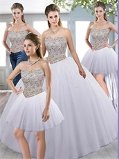 Silver and Gold Mixed Rhombus Beadwork Basque Detachable Four Pieces Ball Gown