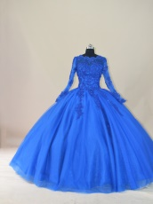 Religious Modest Long Sleeves Royal Blue Winter Quinceanera Dress Warm