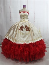 Western Style Quinceanera Ball Gown Horse Head Embroidery and Red Ruffles