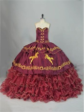 Western Sweet 16 Girl Burgundy Ball Gown Gold Horse Horseshoe Embroidery