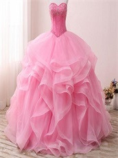 Hot Pink Sweetheart Floor-Length Puffy Elastic Horsehair Ruffles Ball Gown