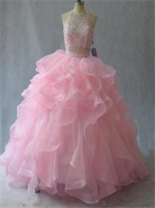 Pink High Collar Two-Pieces Ball Gown Ruffles With Flexible Horsehair Edge