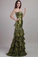 Sweetheart Taffeta Olive Green Evening Dress Classic Style