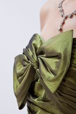 A-line Olive Drab Dress Evening Dress With Bowknot