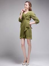 V-neck 3/4 Sleeves Olive Green Short Dress To Mother Of The Bride