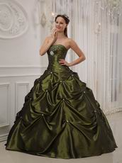 Strapless Olive Green Girls 16th Birthday Quinceanera Dress