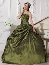 Strapless Olive Green Quinceanera Dress For Sweet 16 Party