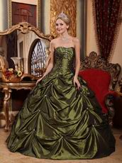 Olive Green Floor-length Taffeta Fabric Quinceanera Dress