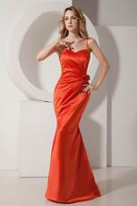 Cheap Mermaid Orange Red Prom Evening Dress Petite