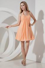 Halter Mini Orange Chiffon Junior Bridesmaid Dresses