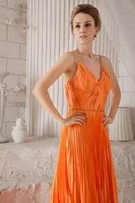 Empire Spaghetti Straps Bright Orange Cache Prom Dress