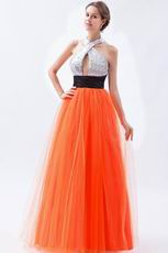 Halter Sequin A-line Orange Red Net Prom Dress In Texas