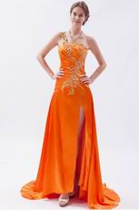 Fashionable Front Split Skirt Sun Orange 2014 Prom Party Dress