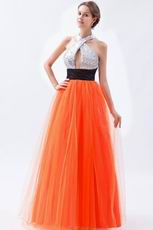 Halter Sequin Orange Red Night Party Dress In Texas