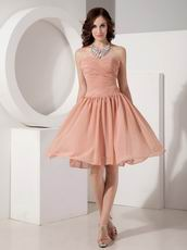 Amazon Hot sell Simple Top Designer Bridal Bridesmaid Dress In Light Orange