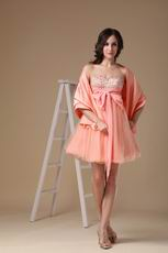 Cute Orange Pink Sweet Sixteen Dress With Shawl