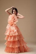 Designer Orange Cascade Skirt A-line Top Designer Prom Dress