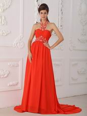 Halter Top 2014 Formal Evening Dress In Orange Red