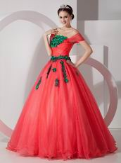 Coral Red Popular A-line Prom Gown With Green Applique