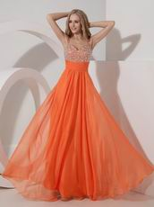 Not Expensive Spaghetti Straps Orange Chiffon Beaded Prom Dress