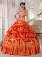 Inexpensive Floor Length Orange Bat Bitzvah Ball Gown