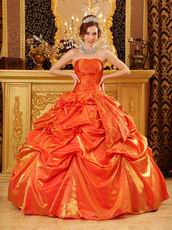Elegant Picks-up Emberllishment Orange Red Quinceanera Dress