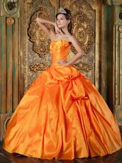 Inexpensive Orange Taffeta Military Ball Gown Corset Back