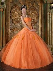 Ruched Sweetheart Applique Orange Organza Best Quinceanera Dress