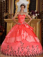 Orange Red Layers Skirt Appliqued Bottom Quinceanera Dress