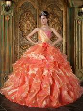 Ruffles Skirt Orange Sweetheart Puffy Quinceanera Gown