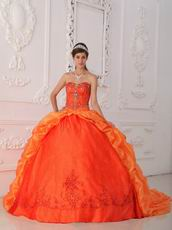 Orange Embroidered Bottom Quinceanera Gown With Chapel Train