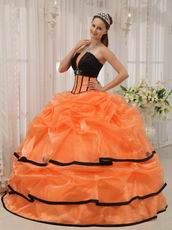 Strapless Orange Organza Quinceanera Dress With Black Bordure