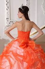 Low Price Trimed Orange Red Quinceanera 2014 Dress Gown