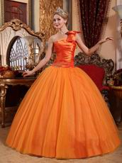 Orange One Shoulder Puffy Skirt Quinceanera Dress