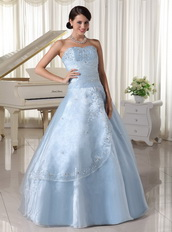 Appliques With Beading Over Skirt Light Blue Quinceanera Dress For Military Ball Like Princess