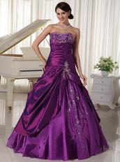 Taffeta and Organza Dark Purple Sweetheart Quinceanera Gowns Like Princess