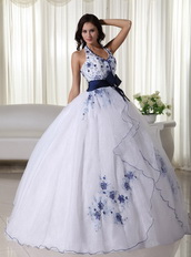 White Halter Quince Dress With Royal Embroidery And Belt Like Princess