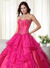 Hot Pink Affordable 2014 Quinceanera Gown With Embroidery Like Princess