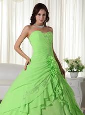 Spring Green Floor-length Chiffon Quinceanera Dress 2014 Like Princess
